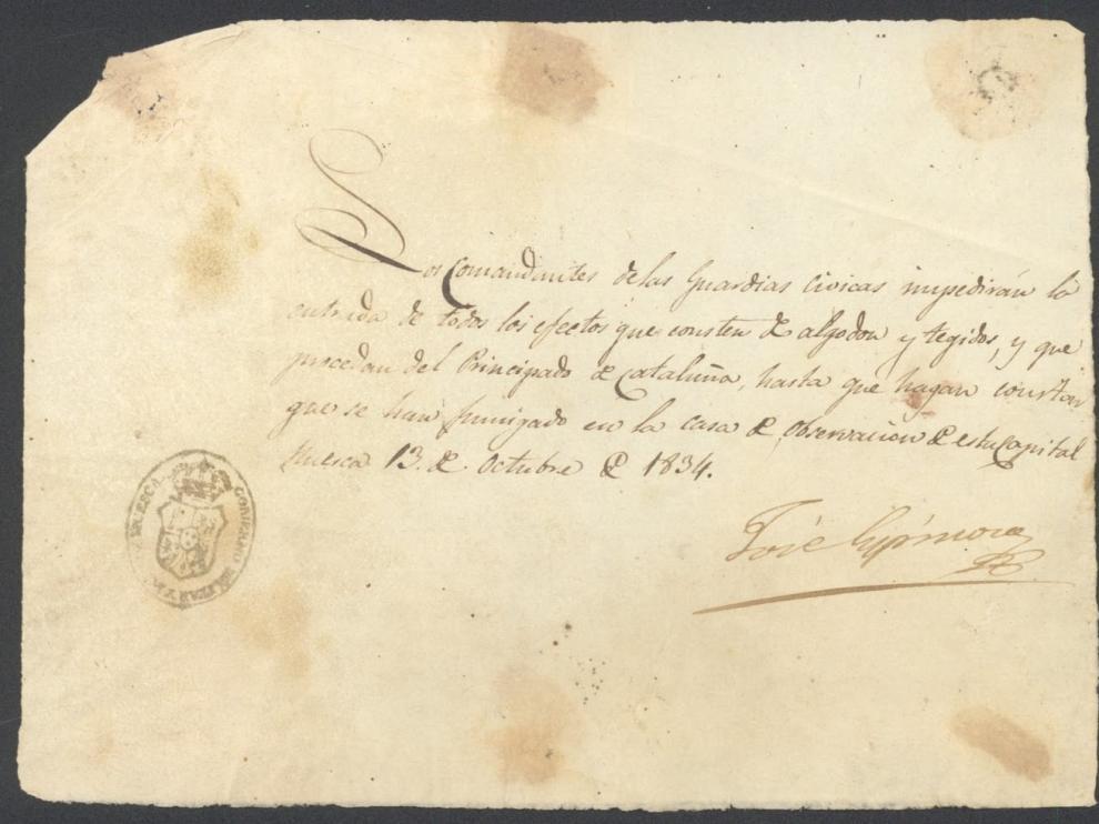 Orden del Gobierno Militar de 1834 que impedía la entrada en Huesca de algodón y tela proveniente de Cataluña si no había sido fumigada previamente.