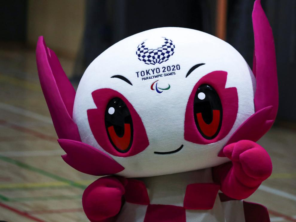 Tokyo 2020 Paralympic Games Mascot Someity is seen during an event Six Months to go until Tokyo 2020 Paralympic Games in Tokyo