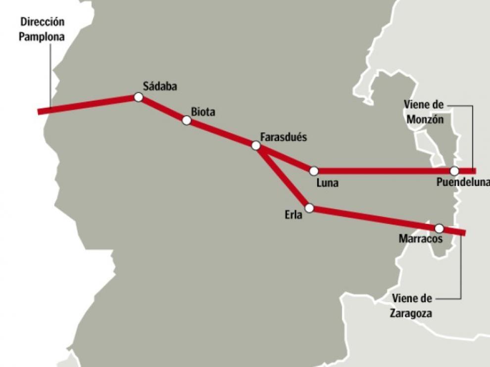 Recreación del camino de Salas, con los dos ramales que convergen entre Farasdués y Biota.