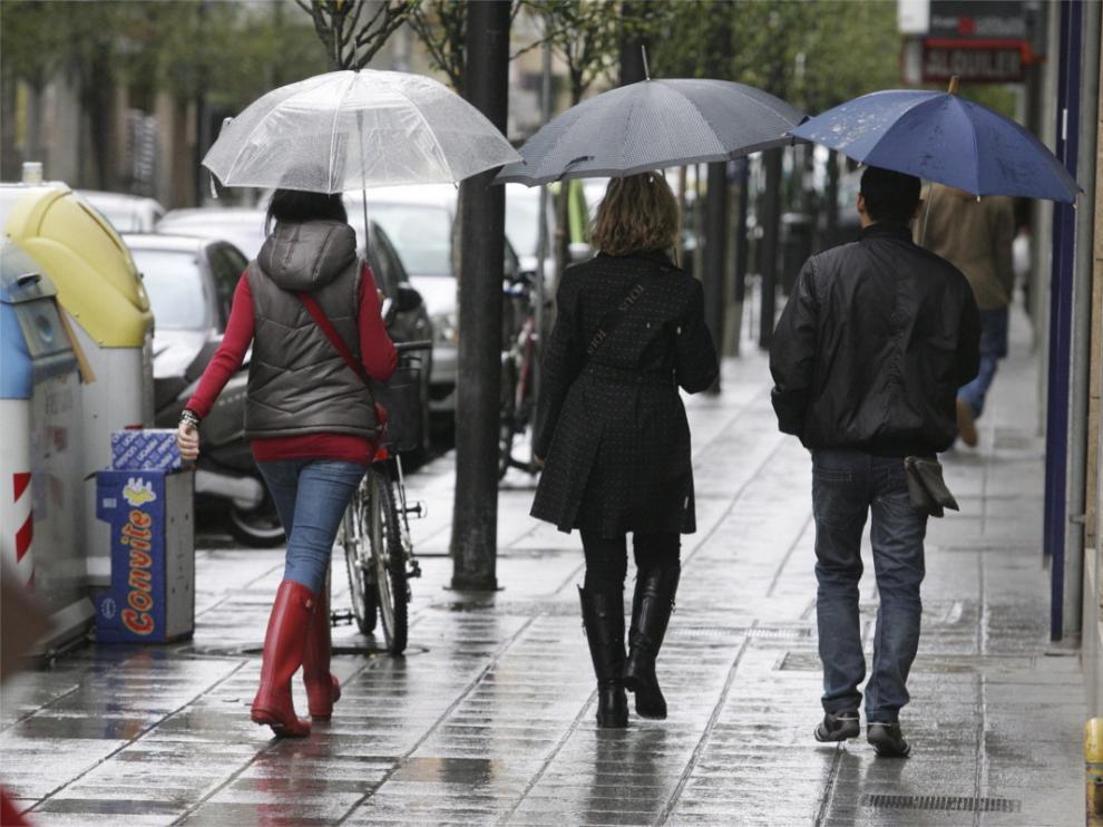 Una jornada de lluvia en Huesca