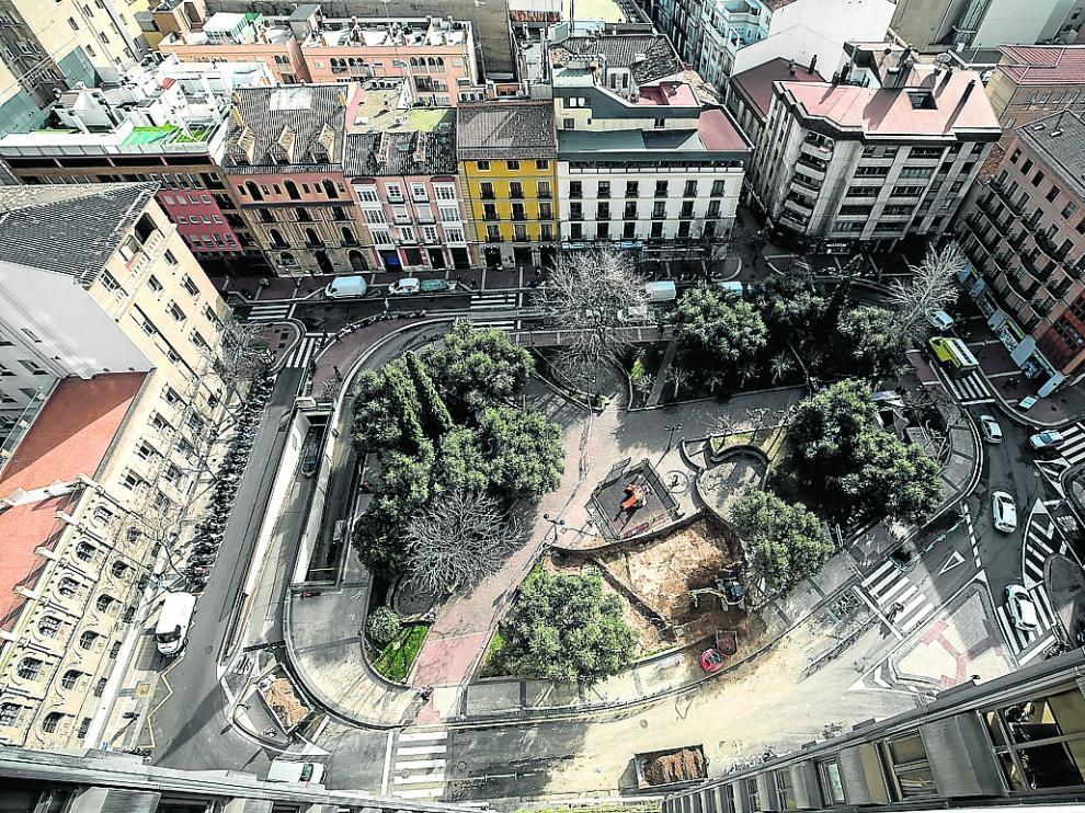 Vista aérea de la plaza de Salamero después del cierre parcial del parquin.
