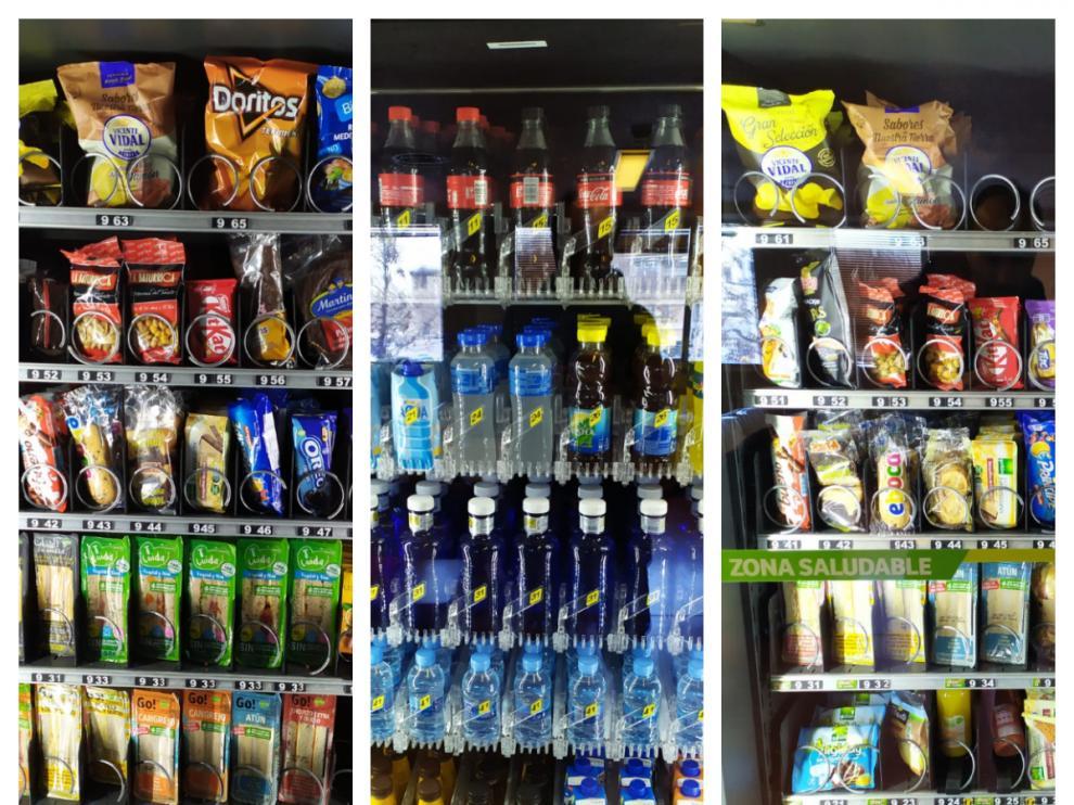 Tres tipos de máquinas de vending que se pueden encontrar en el hospital Miguel Servet de Zaragoza.