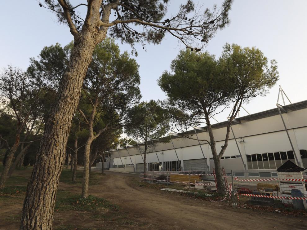 Zona de obras del estadio El Alcoraz.