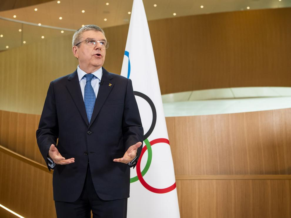 Lausanne (Switzerland Schweiz Suisse), 03/03/2020.- International Olympic Committee (IOC) president Thomas Bach speaks during a statement on the coronavirus (COVID-19) and the Olympic Games Tokyo 2020 after the executive board meeting of the International Olympic Committee (IOC), at the Olympic House, in Lausanne, Switzerland, 03 March 2020. (Suiza, Estados Unidos, Tokio) EFE/EPA/JEAN-CHRISTOPHE BOTT IOC statement on COVID-19 coronavirus and Olympic Games Tokyo 2020
