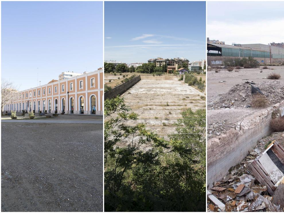 Tres ejemplos de solares sin uso en Zaragoza.