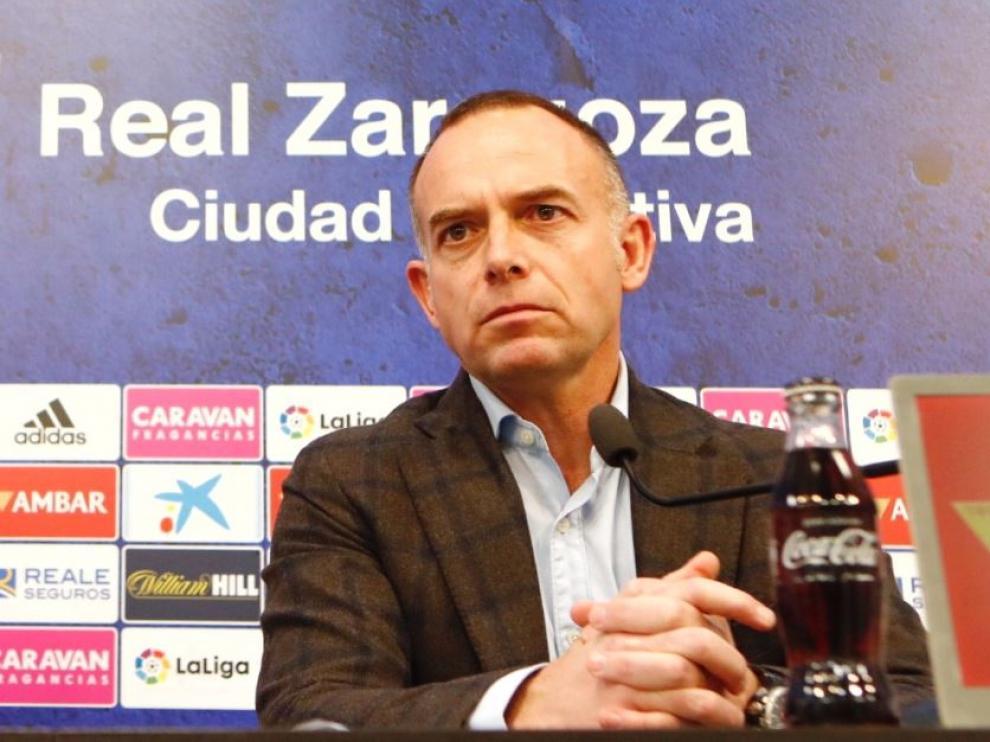 Christian Lapetra, con gesto serio, en la rueda de prensa de esta tarde de martes a consecuencia del caso coronavirus en el fútbol español.