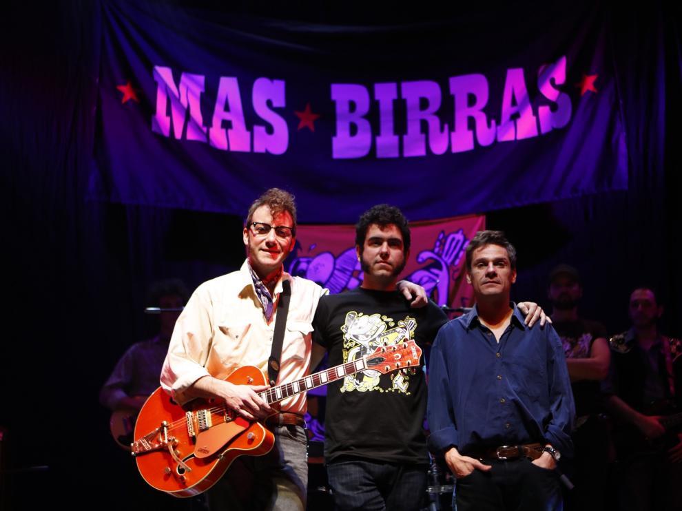 Pepe Lorente (Mauricio Aznar), Javier Macipe y Marc Rodríguez (Pedro Aznar), en el CC Delicias.