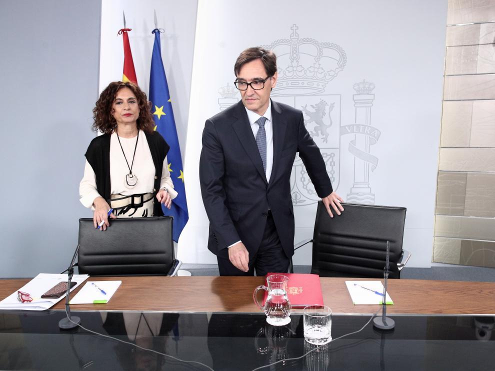 Rueda de prensa de los ministros Montero e Illa tras el Consejo de Ministros.