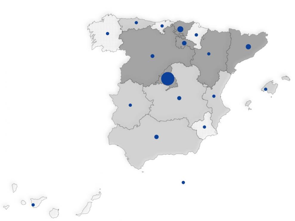 Mapa de España con el número de contagiados por coronavirus