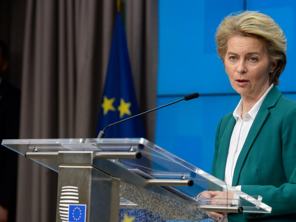 European Commission President Ursula von der Leyen and European Council President Charles Michel attend a news conference after the G7 call