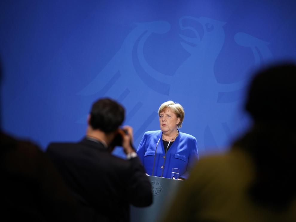 Press conference of German Chancellor Merkel following a videoconference of the Heads of State and Government of the European Union on the coronavirus crisis