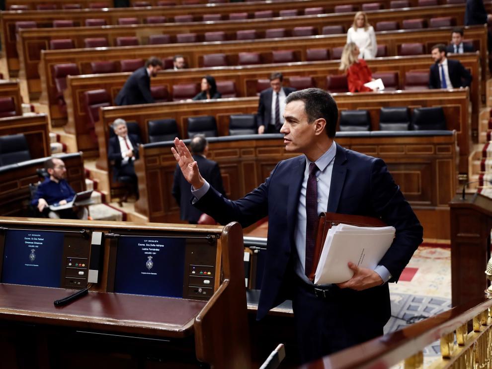 El presidente del Gobierno, Pedro Sánchez, compareció ante el pleno del Congreso.