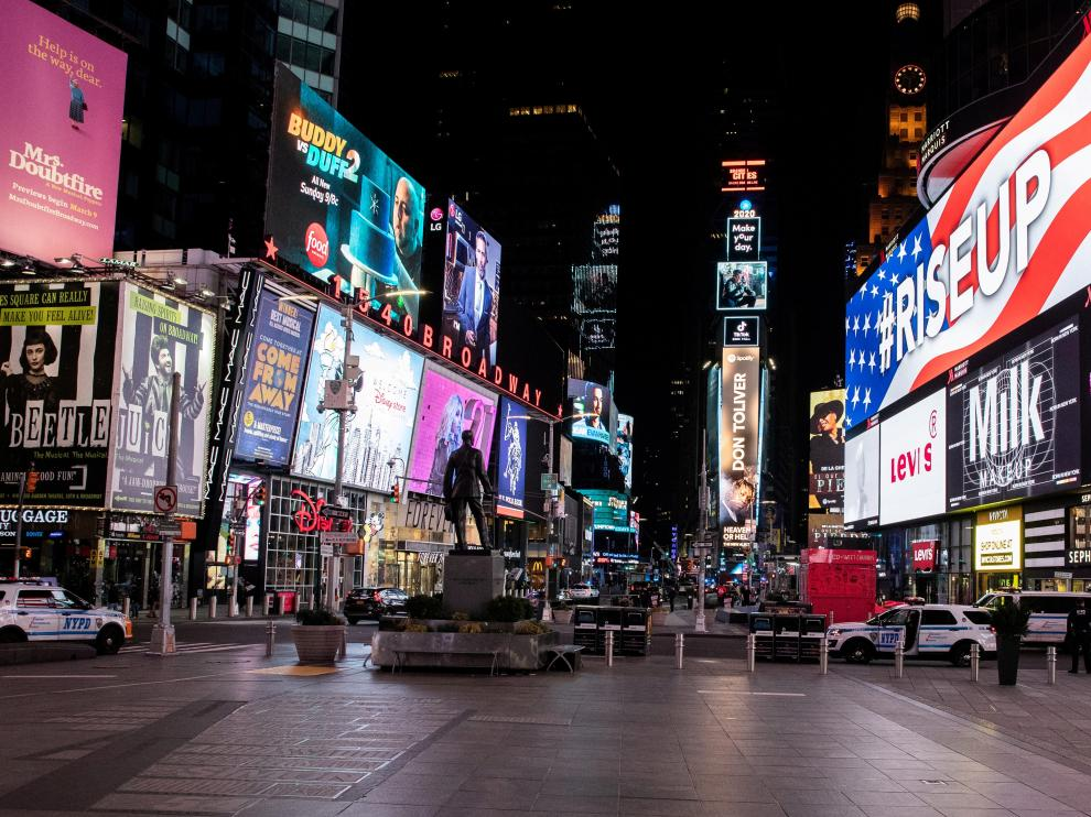 FILE PHOTO: An empty Times Square is seen following the outbreak of the coronavirus disease (COVID-19), in New York City