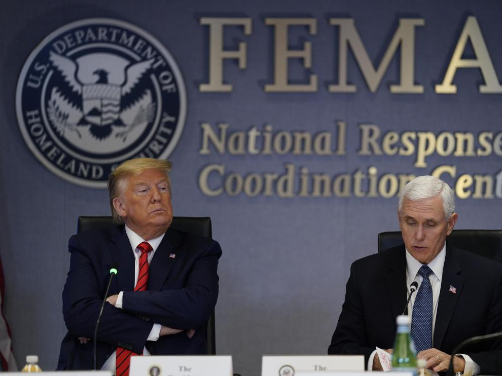 President Donald Trump and Vice President Mike Pence visit the Federal Emergency Management Agency headquarters