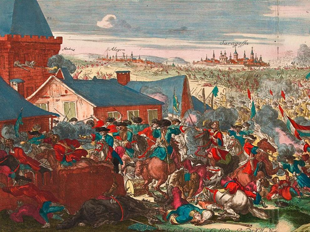 Recreación de la batalla de Zaragoza de 1710, según el grabador Romeyn de Hooghe.