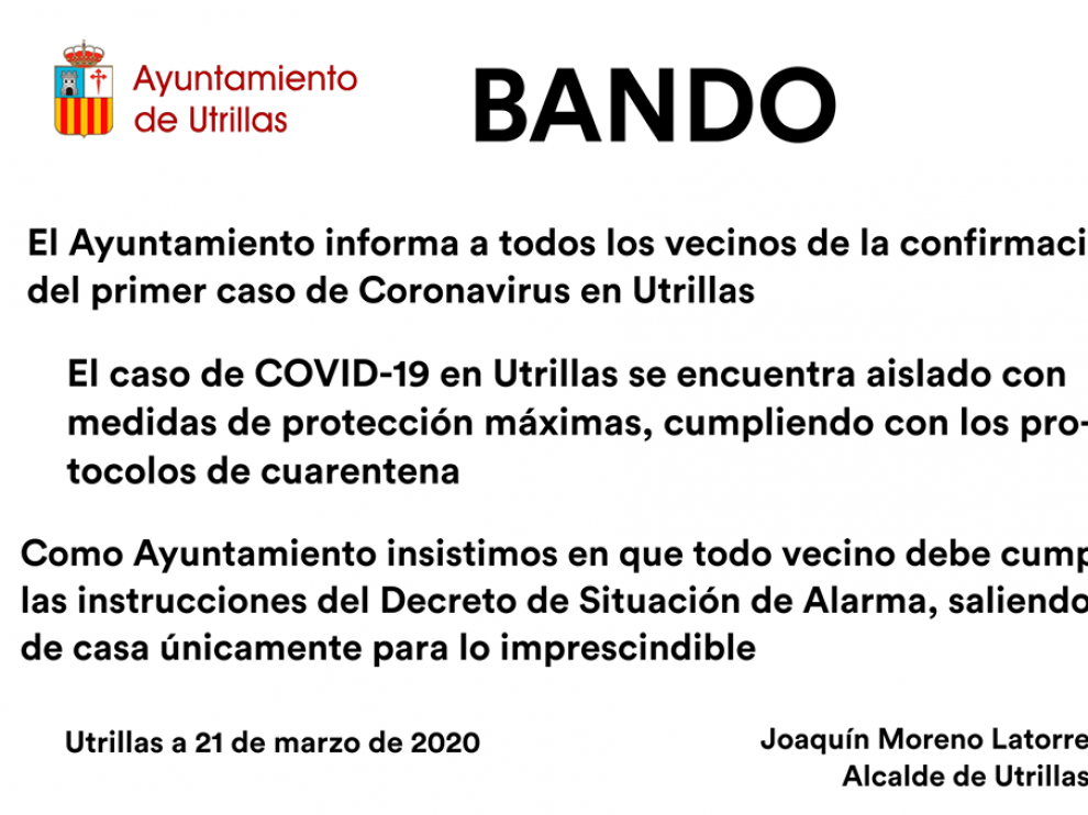 Bando emitido por la Alcalía de Utrillas.