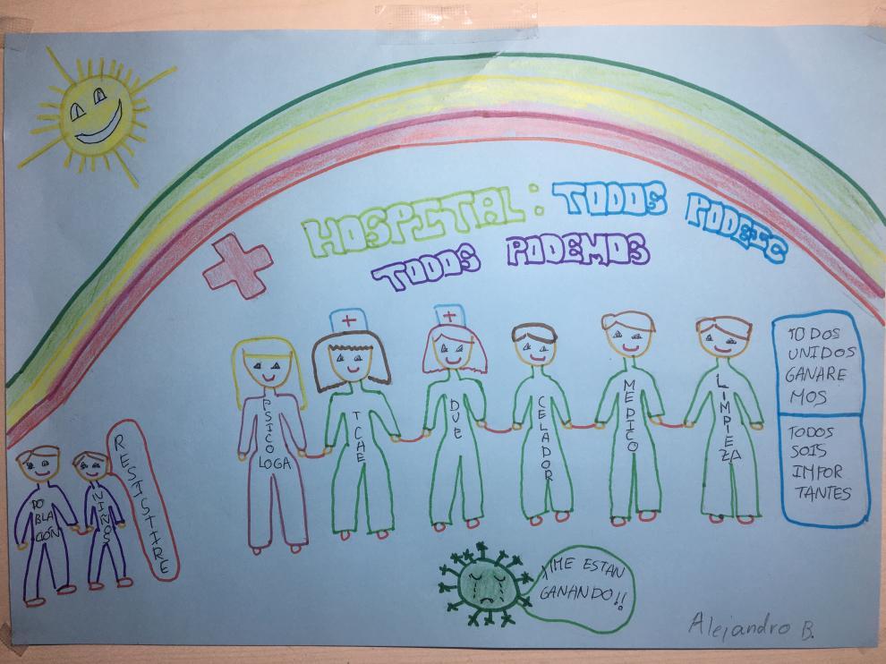 El dibujo de Alejandro para dar ánimos a su tía, que trabaja en Urgencias del Royo Villanova