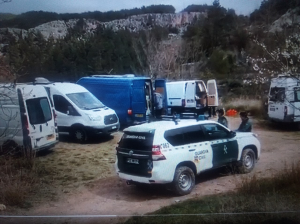 La Guardia Civil, durante su intervención en Olba.
