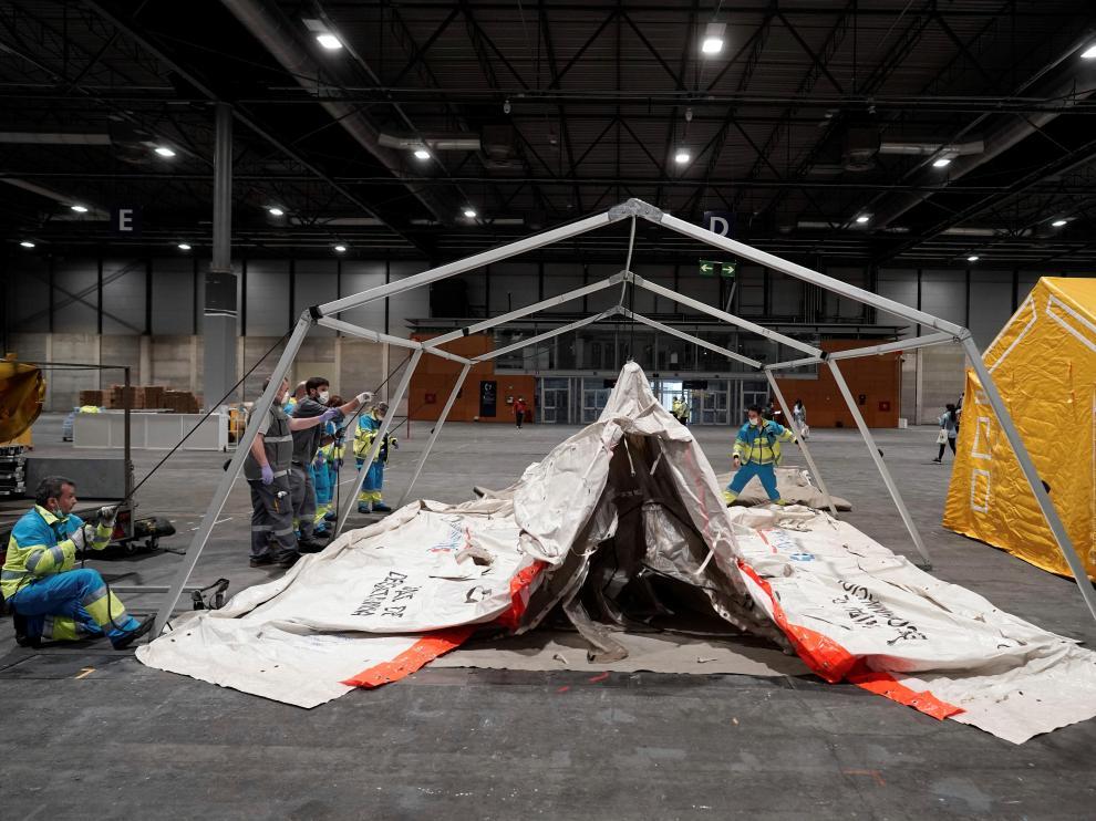 Fotografía facilitada por la Comunidad de Madrid, que avanza en la habilitación de IFEMA como recinto hospitalario de emergencia.