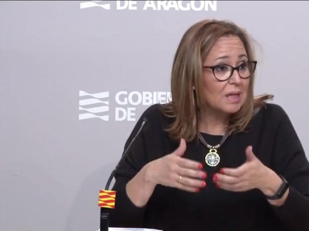 Mayte Pérez, consejera de Presidencia, durante la rueda de prensa de este lunes.