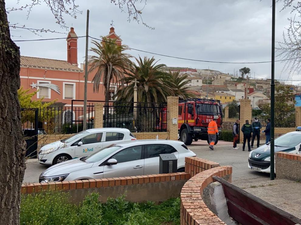 La UME ha acudido esta mañana a la residencia Nuestra Señora de Ródanos de Épila para proceder a la desinfección.