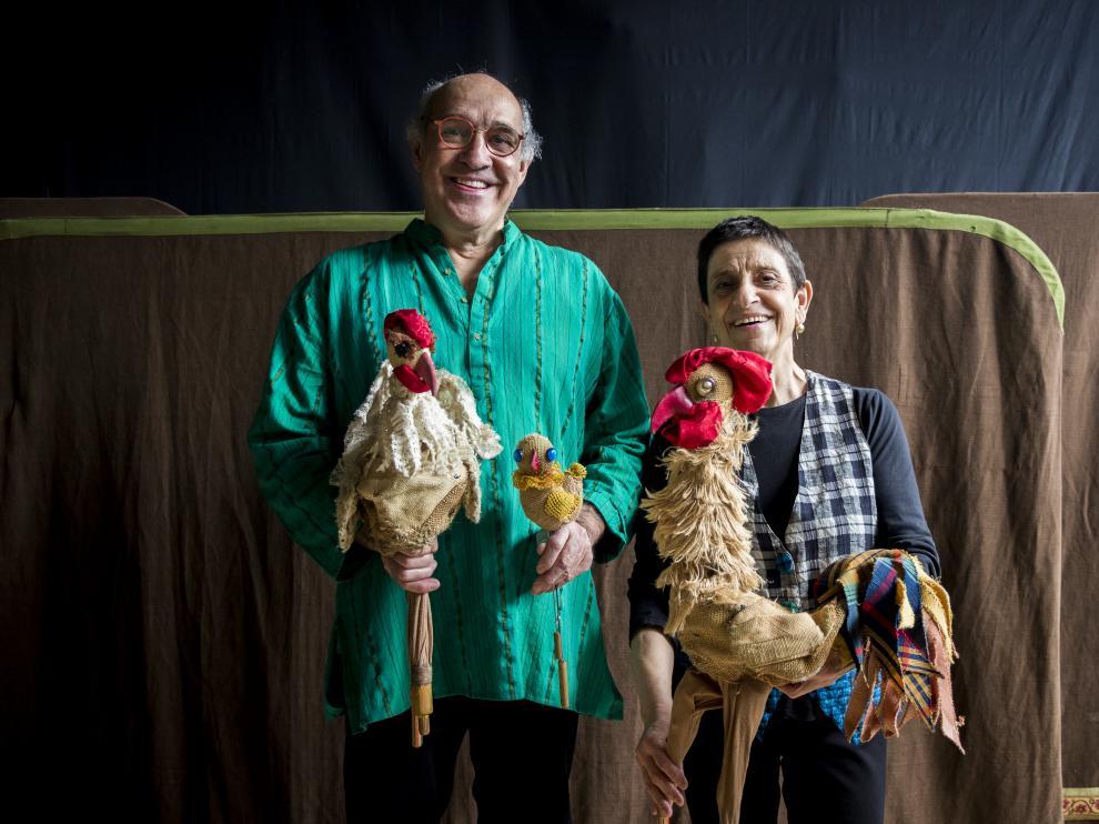 Los fundadores de los Titiriteros de Binéfar, Paco Paricio y Pilar Amorós.