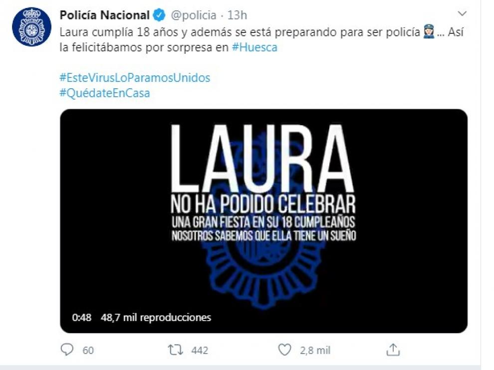 La Policía Nacional rinde homenaje en su Twitter a una joven de Huesca.