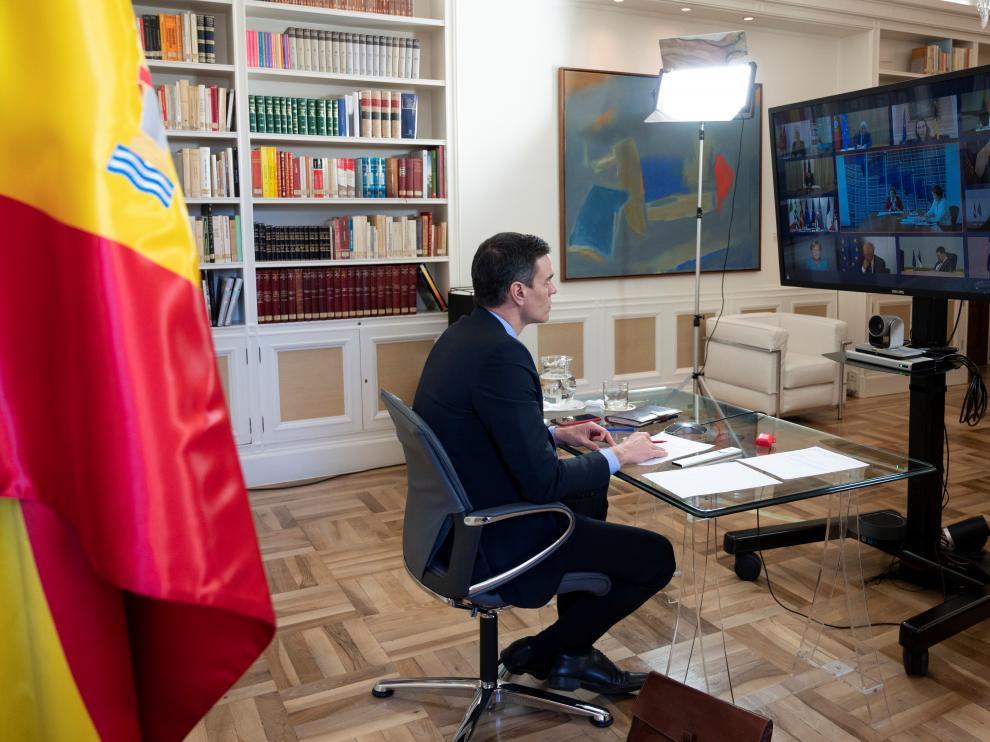 Videoconferencia de Sánchez con los jefes de Gobierno de la UE