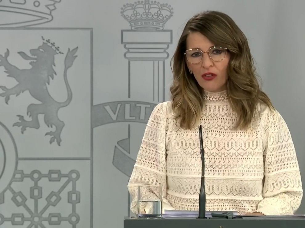 Yolanda Díaz, ministra de Trabajo, este domingo.