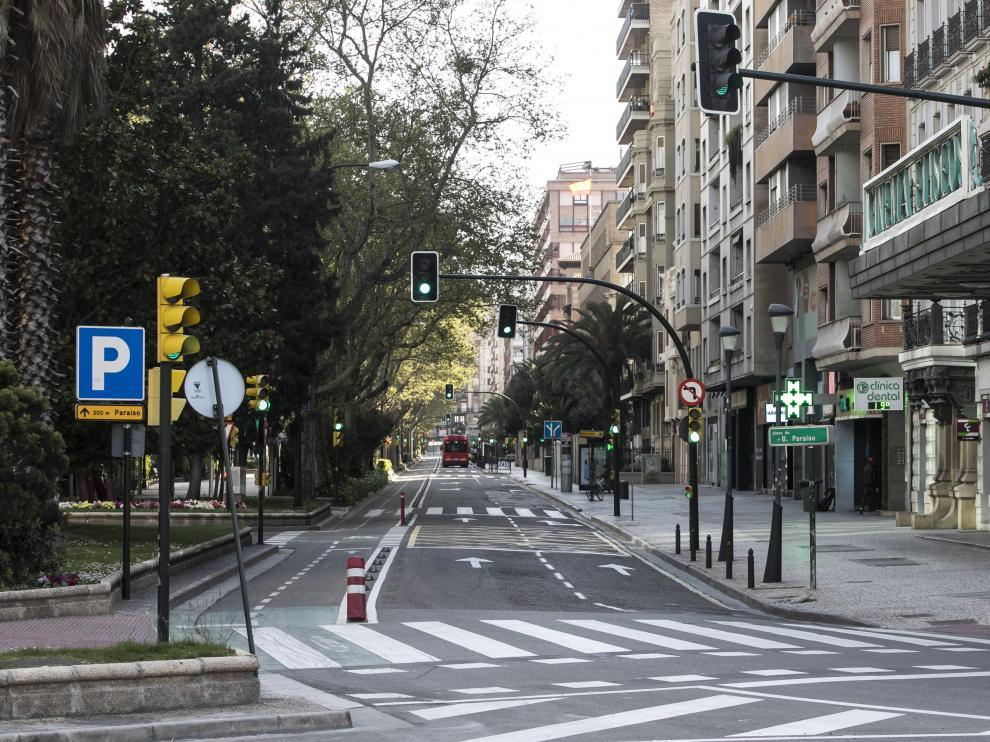 El centro de Zaragoza, vacío durante el estado de alarma.