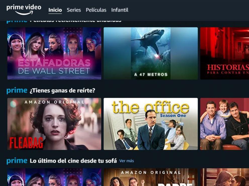 Portal de Amazon Prime Vídeo.