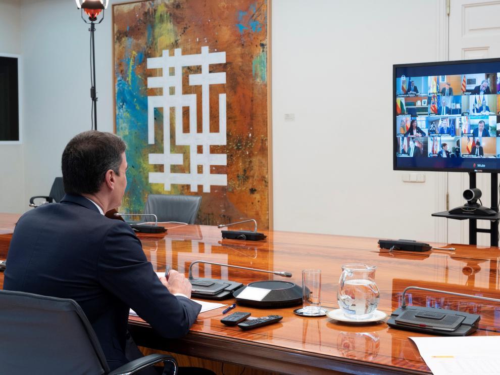 Pedro Sánchez en la videoconferencia de este domingo con los presidentes autonómicos