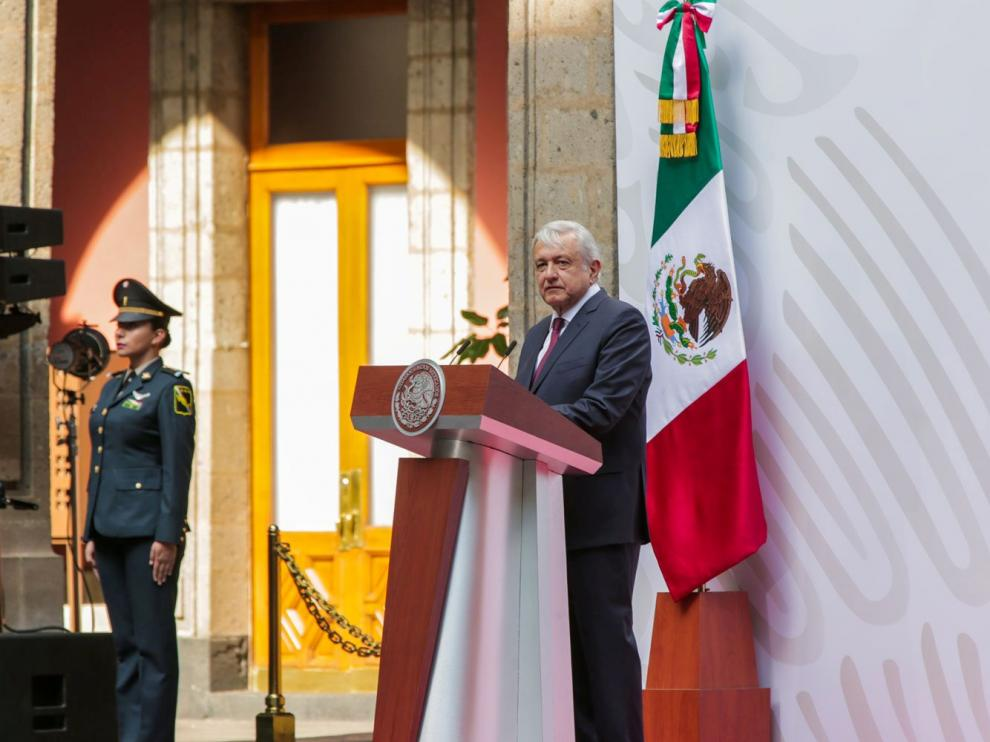 Mexico's President Andres Manuel Lopez Obrador gives a speech to the nation at the National Palace