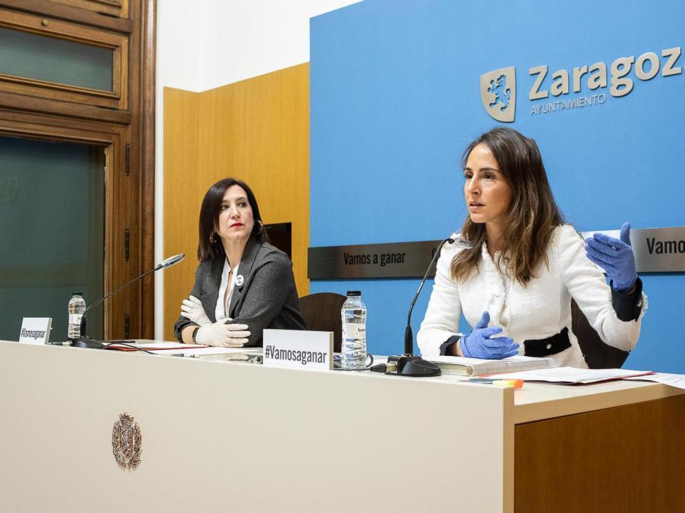Sara Fernández y María Navarro, en rueda de prensa para presentar las medidas fiscales ante el coronavirus