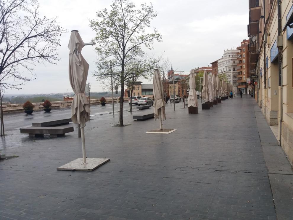 El paseo del Óvalo, una de las principales zonas de restauración de Teruel.