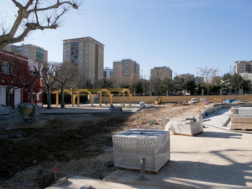 Las obras en las piscinas de la Hípica el pasado mes de febrero.