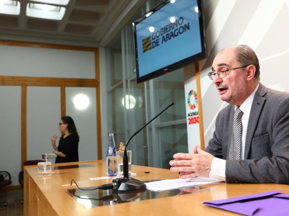 Lambán, ayer tras la videoconferencia con Pedro Sánchez y el resto de líderes autonómicos.