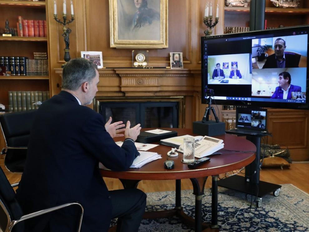 Un momento de la videoconferencia del Rey con la dirección de Oviaragón-Grupo Pastores y el Consorcio de Promoción del Ovino.