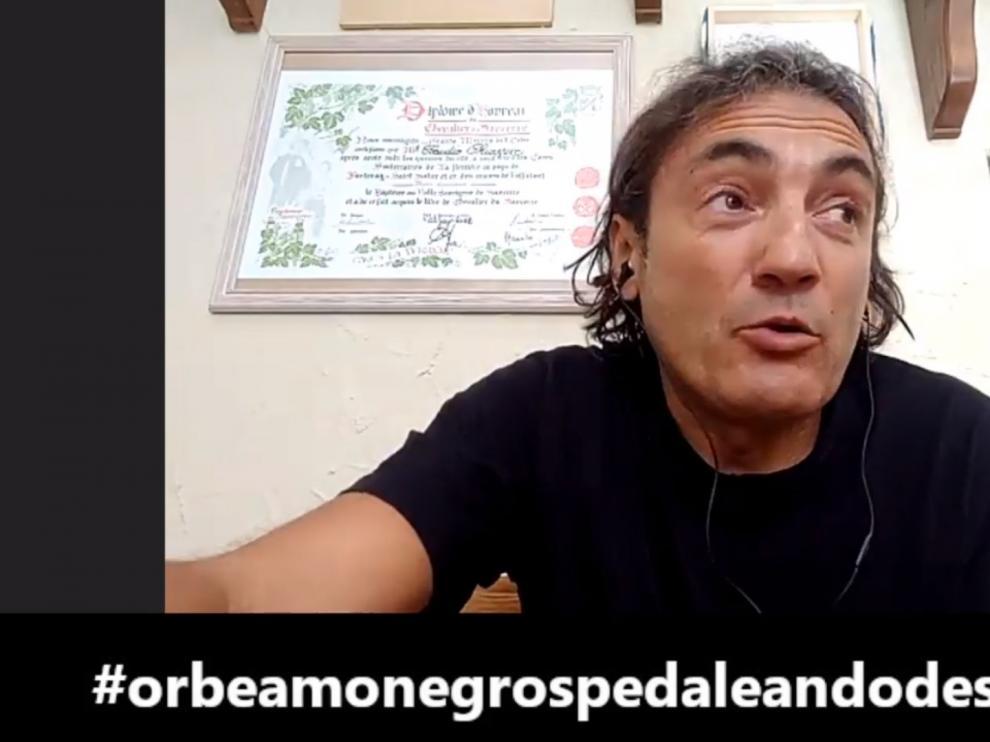Claudio Chiappucci, durante su intervención en la Orbea Monegros.