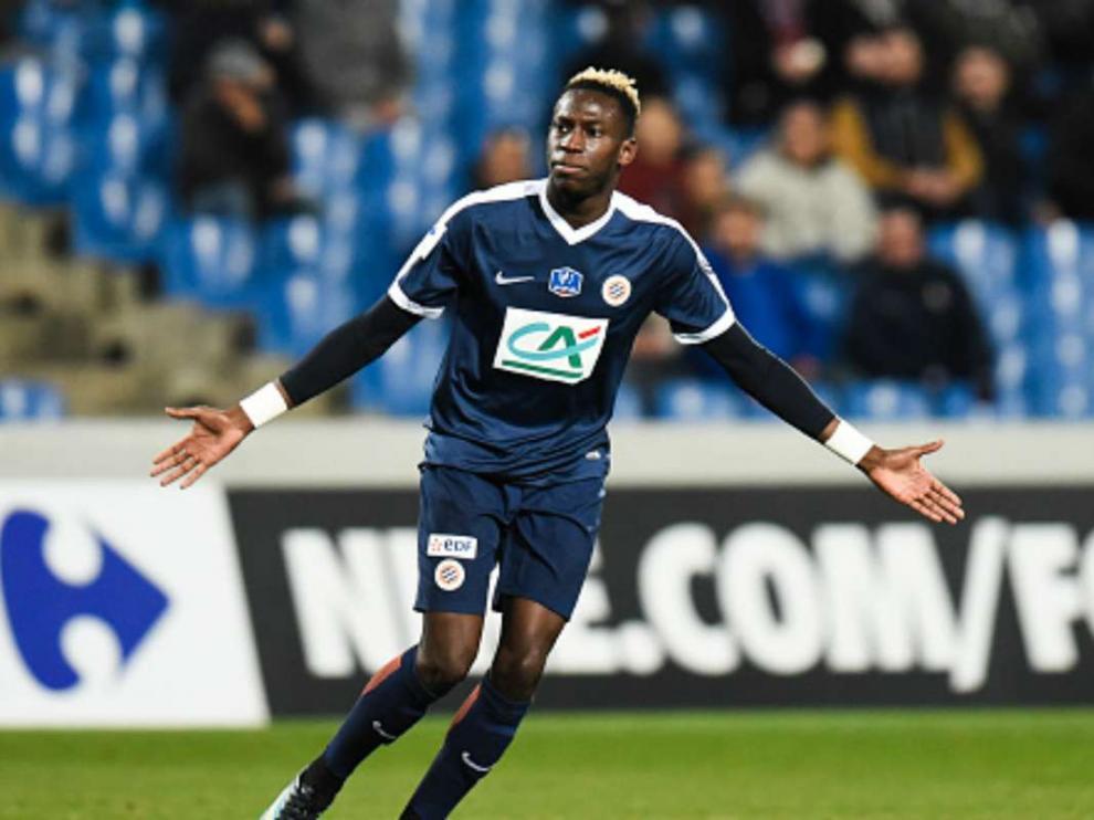 Junior Sambia, en un partido de la Primera División francesa con el Montpellier.