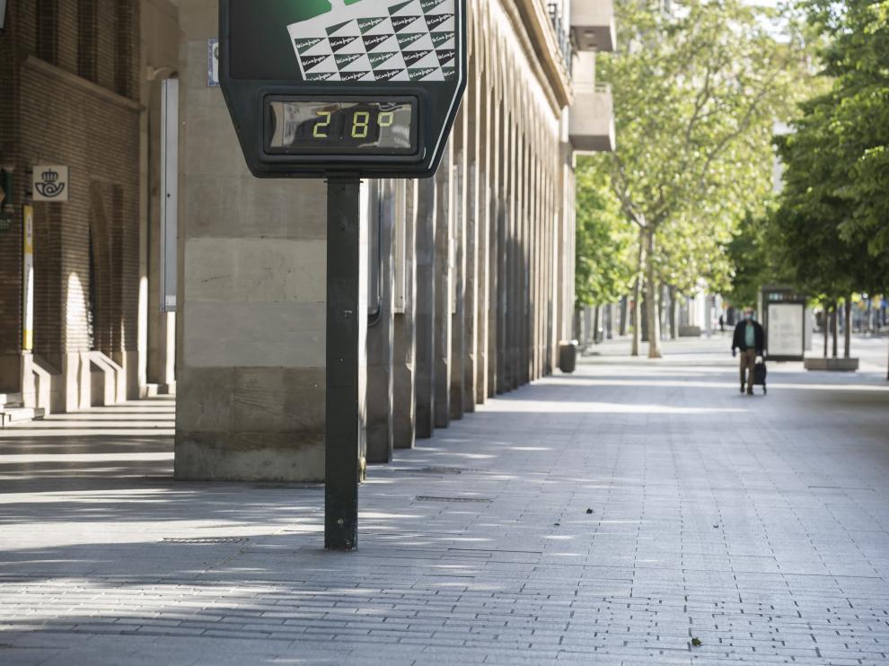 Temperaturas altas este sábado en la capital aragonesa.