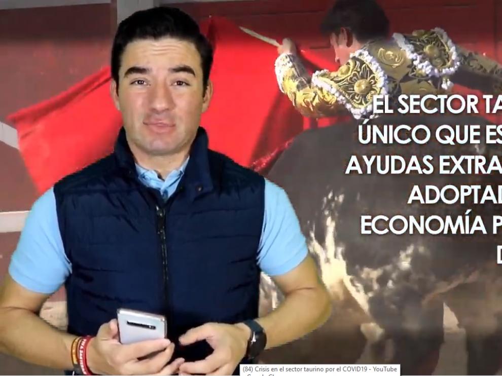 """El torero Imanol Sánchez en un momento del vídeo en el que explica la sityuación """"insostenible"""" que atraviesa el sector taurino."""
