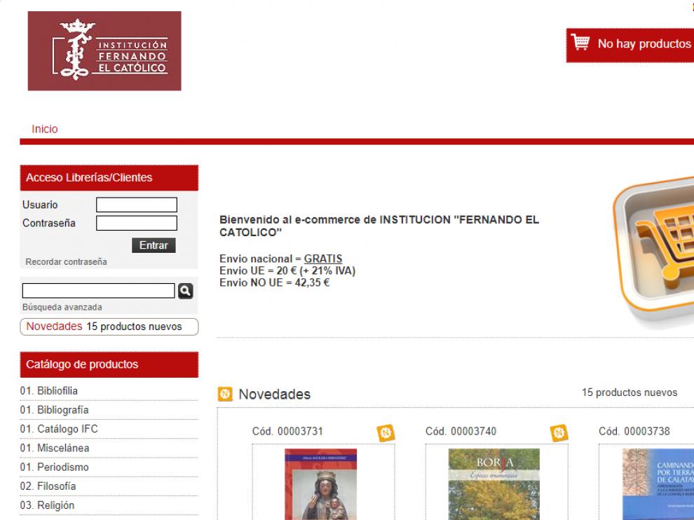 Captura de la tienda virtual de la Institución Fernando el Católico.
