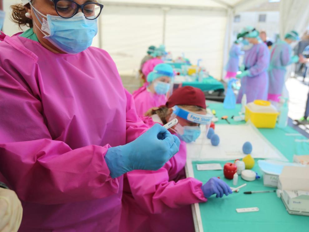 Dispositivo sanitario montado el martes en el matadero Fribin.