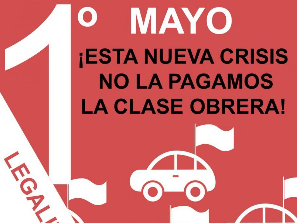 Cartel de la convocatoria de la Intersindical de Aragón para mañana