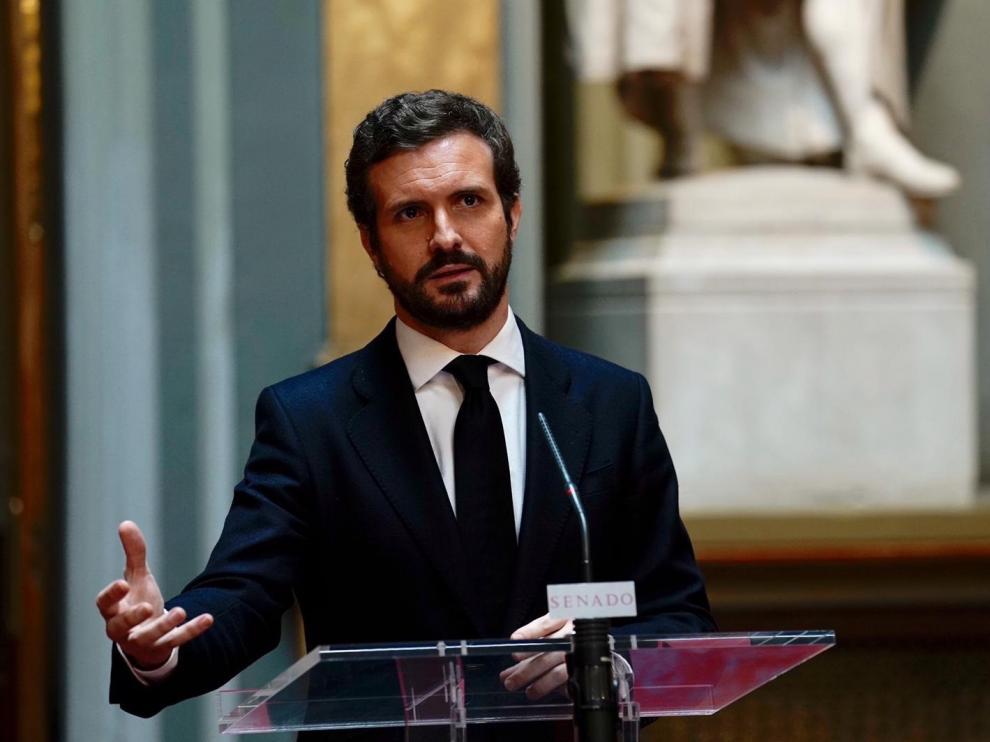 Pablo Casado el jueves en el Congreso de los Diputados.