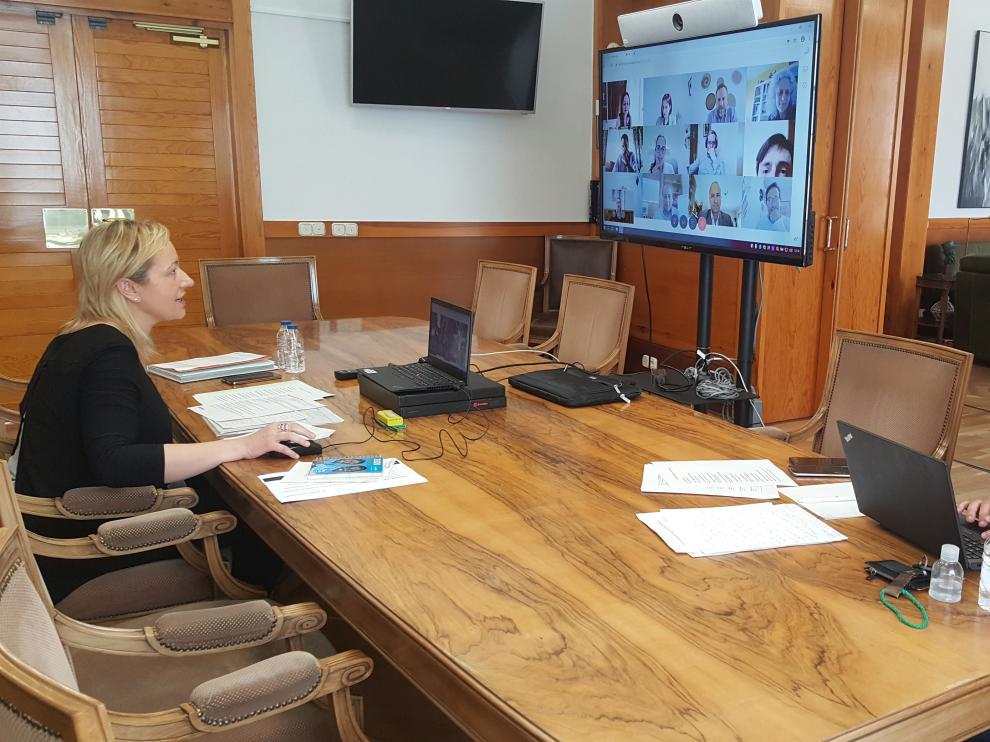 La consejera Marta Gastón trabajando en su despacho junto a Luis Lanaspa.