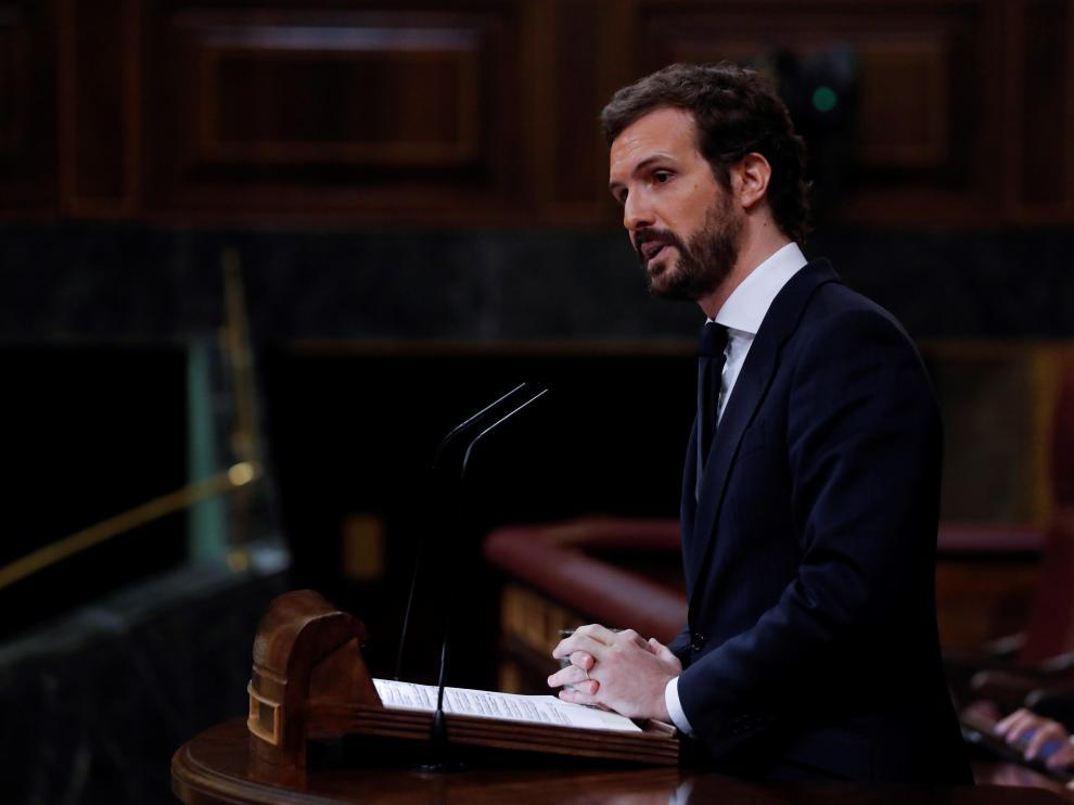 Pablo Casado, en el pleno del Congreso.
