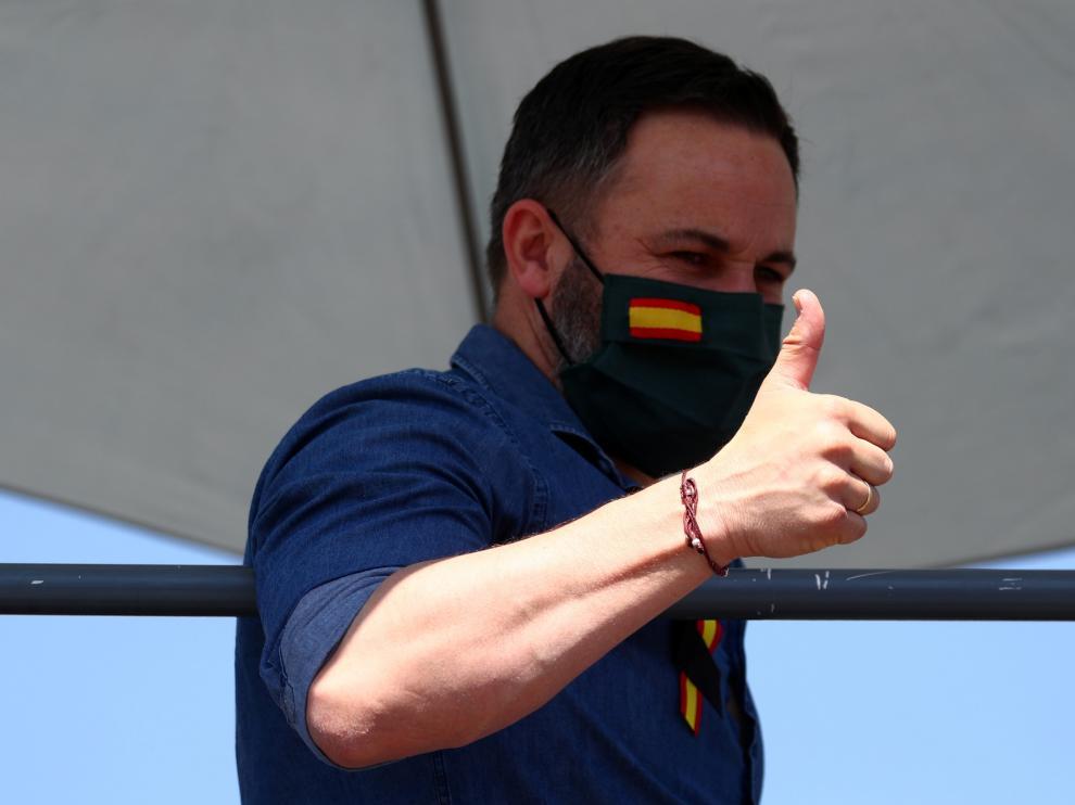Abascal durante la manifestación contra el Gobierno este sábado en Madrid.