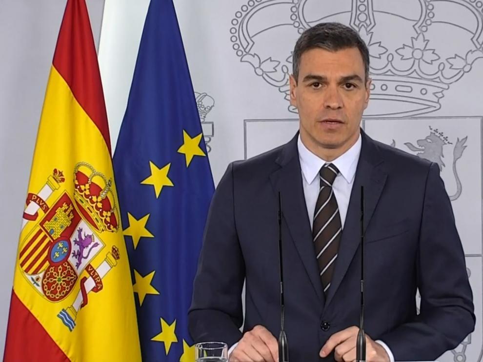 Pedro Sánchez en su comparecencia este sábado en la Moncloa.